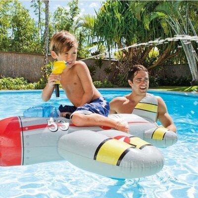 Детский плотик для плавания Intex Самолетик Серый с водяным пистолетом 57537