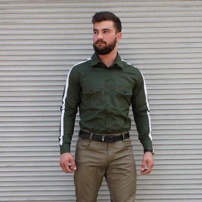 Мужская стильная рубашка с лампасом хаки