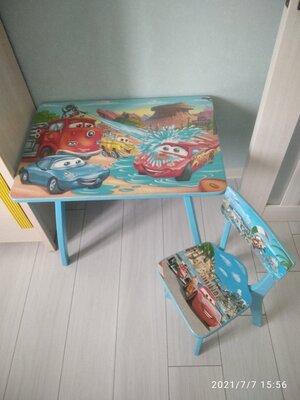 Дитячі столик та стілець з дерева Тачки