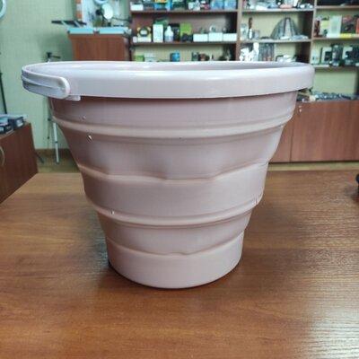 Ведро 10 литров туристическое складное Collapsible Bucket Тёмно-Розовое