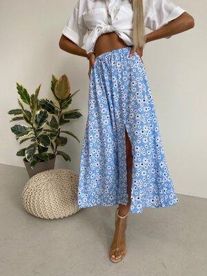 Женская юбка макси с цветочным принтом