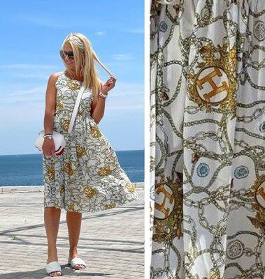 Шикарное платье штапель принт цепочки под гуччи -50-52