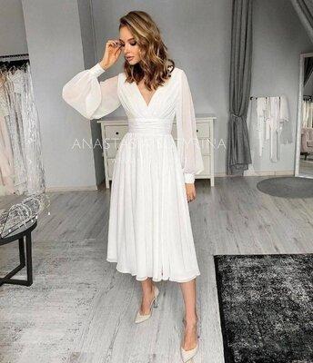 Платье женское нарядное легое миди 38 40 42 44 46 48 50 52 54 56 58 60 розм белое