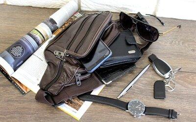 Кожаная мужская сумка на пояс коричневого цвета 2001