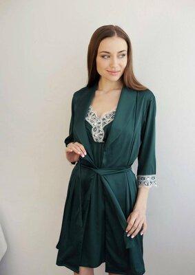Комплект халат комбинация сорочка шелковая с кружевом christel 102