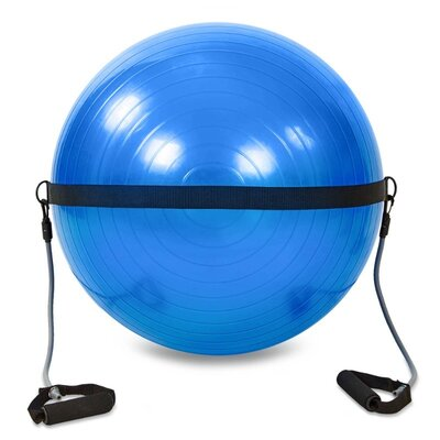 Мяч для фитнеса фитбол гладкий с эспандерами 65см Zel 0702B-65 вес 1100г, система ABS