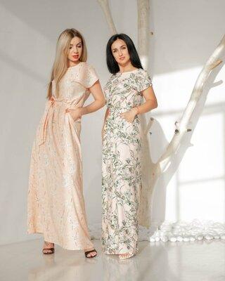 Платье легкое длинное из софтовой ткани в принт код 2980