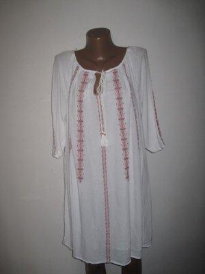 Вискозное белое платье вышиванка Некст р-р10