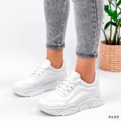 Кроссовки женские Ilaria белые Код 4143 Материал эко-кожа Цвета белые подошва 5 см