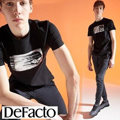 Черная мужская футболка Defacto/Дефакто с серебристым принтом-череп