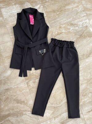 Костюм кардиган брюки 128-164 двойка черный школьный безрукавка пиджак жакет строгий форма
