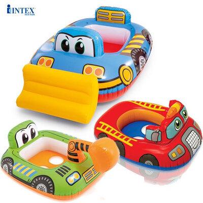 Детский надувной плотик Intex 59586NP бульдозер,плотик бульдозер intex 59586 NP,круг intex бульдозер