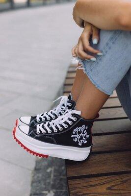 Женские кеды на платформе Converse Run Star Keith Haring Black