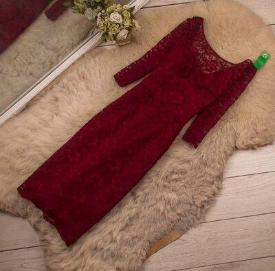 Очень красивое кружевное платье винного цвета от M&S рр 12 наш 46