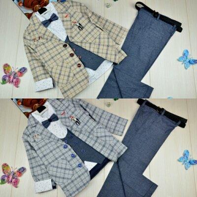 Нарядный костюм для мальчика с пиджаком и жилеткой , школьный костюм , на 5-8 лет