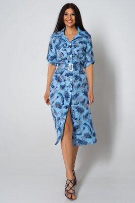 Льняное голубое платье с принтом | 43937