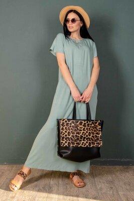 Оливковое платье свободного силуэта   47389