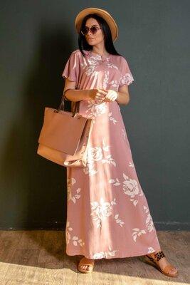 Пудровое платье свободного силуэта   47373