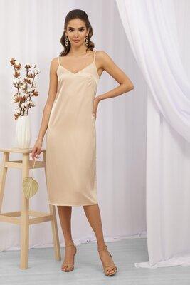Бежевое платье в бельевом стиле   47231