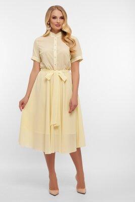 Батальное шифоновое платье ваниль | 47151