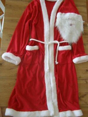 Карнавальный костюм Деда Мороза, Санта Клауса шапка с бородой универсальный размер
