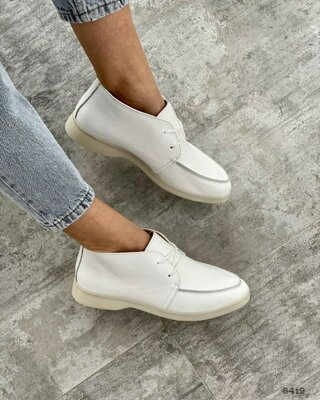 Женские кожаные белые лоферы, хайтопы, короткие ботинки на шнурках, натур кожа