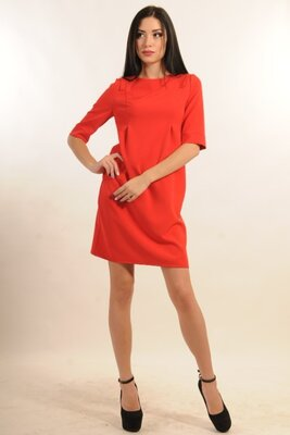 Демисезонное красное мини-платье   21682