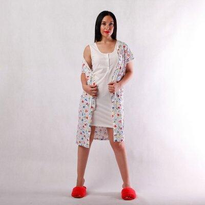 Женский домашний комплект ночная сорочка и халат