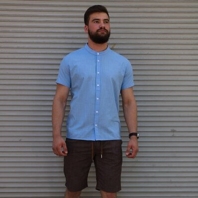 Рубашка лён короткий рукав голубая