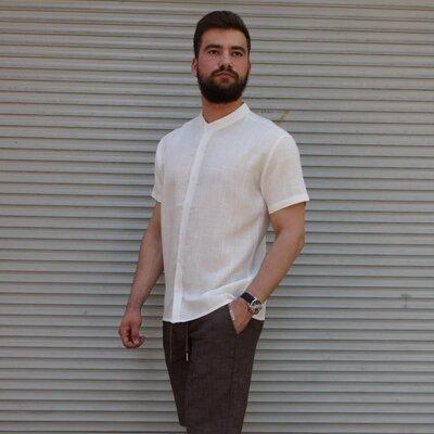 Рубашка лён короткий рукав молочная