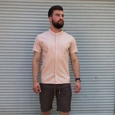 Рубашка лён короткий рукав бежевая