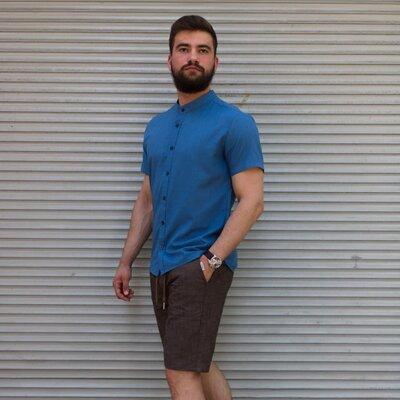 Рубашка лён короткий рукав синяя
