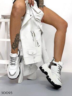 Женские натуральные кожаные чёрные белые с серебряными вставками кроссовки на массивной подошве