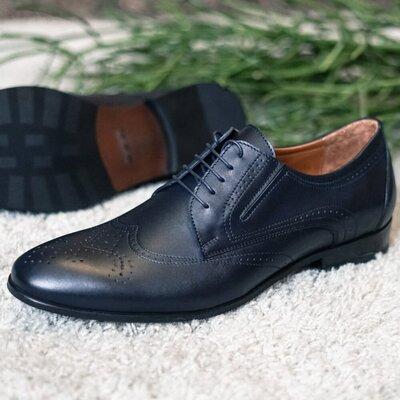 Сині чоловічі туфлі броги
