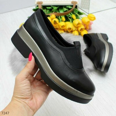 Туфли лоферы черные женские