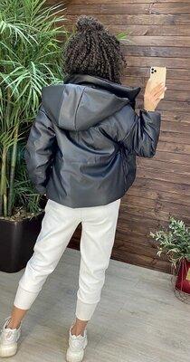 Куртка екошкіра з капішоном куртка екокожа