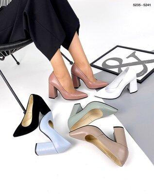 Женские натуральные замшевые кожаные классические туфли лодочки на устойчивом каблуке