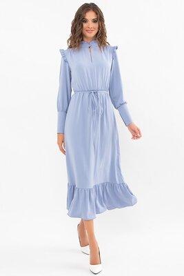 Голубое платье с длинным рукавом | 49564