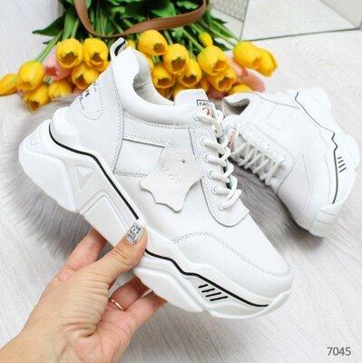 Белые кожаные кроссовки, женские кожаные кроссовки, кроссовки кожа, кросівки 36р-23 см код 7045
