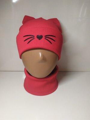 Двойной набор рубчик шапка и хомут для девочки с ушками Кошка 8-52