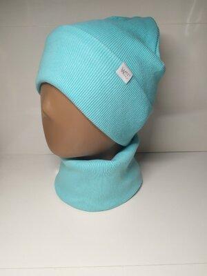 Двойной набор рубчик шапка с отворотом и хомут для девочки 48-54