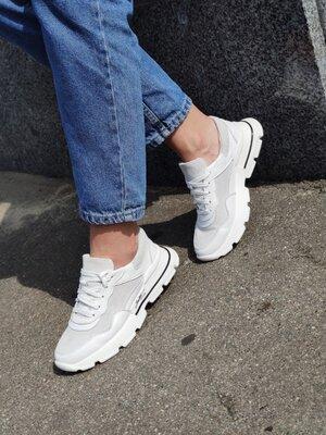 Женские кожаные кроссовки, 3 цвета