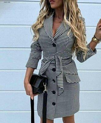 Платье-Пиджак мини принт гусиная лапка с поясом 24-70 размер