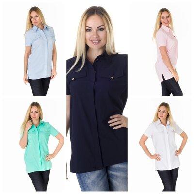 Рубашка туника 44 по 50 сорочка жіноча блузка женская туника блуза с коротким рукавом