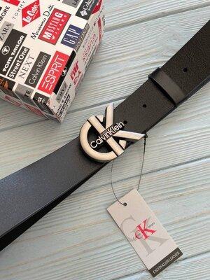 Черный мужской кожаный ремень Calvin Klein Кельвин Кляйн