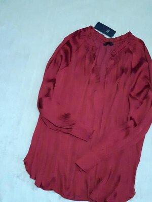 Новая с биркой лёгкая сатиновая блузка свободный длинный рукав батал размер 22-24 m&s