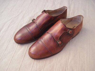 Zara Monk Strap 45 кожаные туфли монки мужские