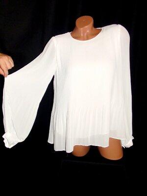 Шикарная свободная блуза плиссировка с пышными рукавами - XS - S - M