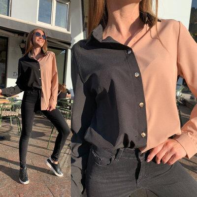 Двухцветная блузка рубашка