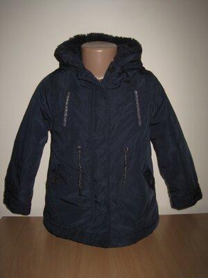 3/4. Куртка для девочки. На 4 года см. замеры . kiabi. В отличном состоянии